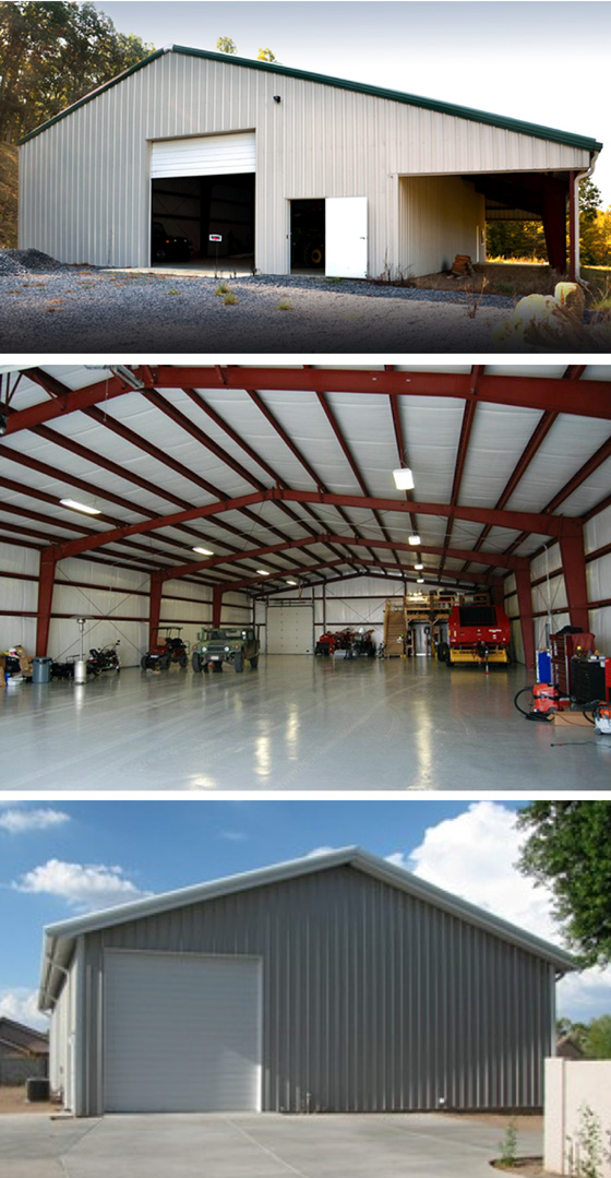 Photos of three more room steel building workshops.