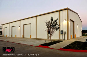 Photo of a RHINO industrial building with outdoor lighting for increased security.