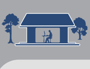 Graphic of a man at a desk inside a steel backyard home office.