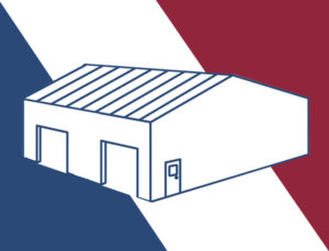 Drawing of a roomy metal garage/storage building.