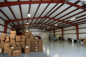 Photo of the interior of a spacious RHINO metal storage building.