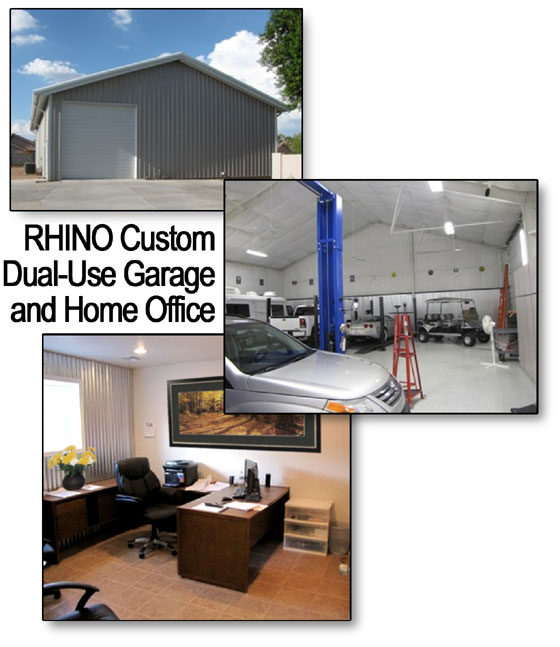 Collage of photos of a RHINO steel building combination garage and home office