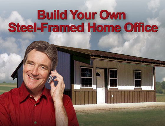 A smiling man listening to his cell phone as he stands before his metal building home office