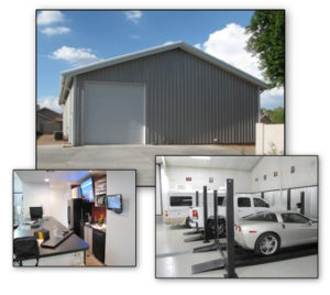 Photos of a RHINO multi-sue storage building and garage with an office and guest room.