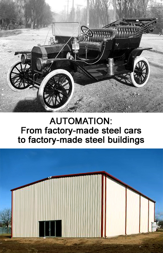 Photos of an antique car and a steel building, comparing the factory-made advantages of each