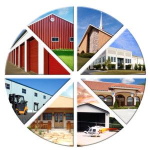 Montage of types of RHINO metal buildings.