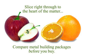 Photo of an apple and an orange warns people to compare steel building kits carefully.