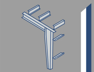Icon image of a rigid steel building frame.