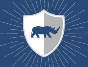 Iconic image of a shield emblazoned with a rhino, depicting the extra protection provided by RHINO steel buildings.
