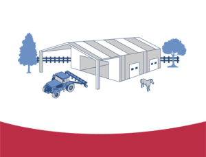Drawing of a metal barn, tractor, and horse.