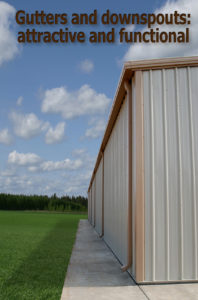 Photo of a RHINO steel building with gutters and downspouts.