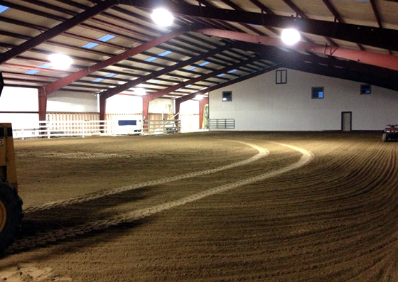 Interior of a steel building riding arena