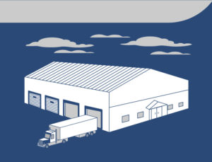 Drawing of a warehouse with multiple overhead doors.