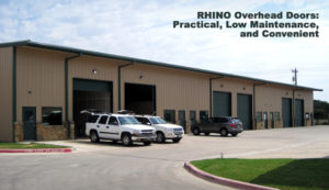 Photo of a RHINO steel building with multiple overhead doors.