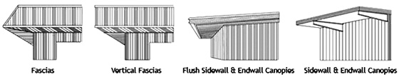 Illustration of various fascias available for RHINO Steel Buildings
