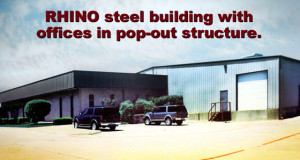 A RHINO steel building with offices added to a manufacturing facility