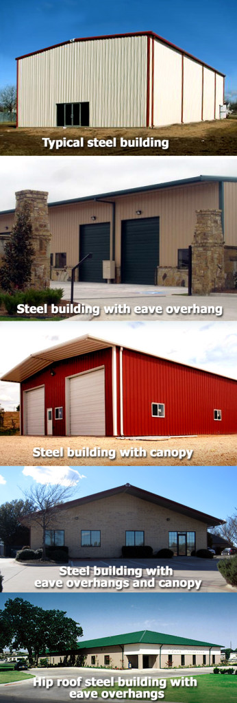 Collage of metal building photos showing various roofline treatments