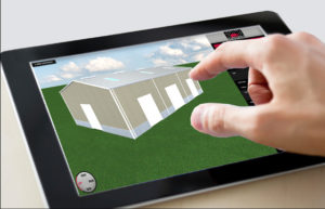 Man using RHINO's 3-D Online Design Tool to create his own building design.
