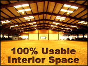 "Photo of the interior of a steel building equestrian riding arena with the heading: ""100% Usable Interior Space."""