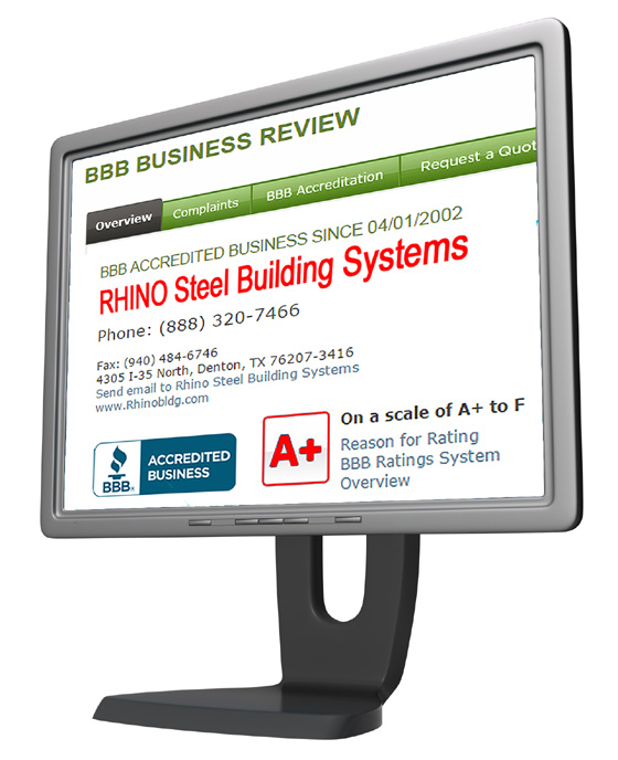 Computer monitor displaying the RHINO Steel Buildings page on the Better Business Bureau website