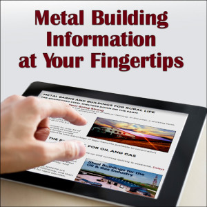 "a finger scrolls across an electronic notepad with the heading ""Metal Building Information at Your Fingertips"""