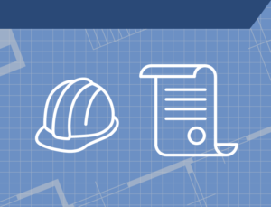 Icon shows a hardhat and a construction permit over a grid background.