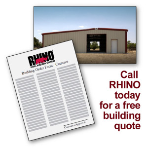 """A metal farm building photo and an order form with the headline """"Call RHINO today for a free building quote"""""""