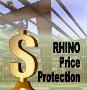 Dollar sign image over a steel framing photo showing RHINO's price protection policy.