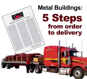 """Truck loaded with steel building kit and the headline: 'Five Steps from Order to Delivery."""""""