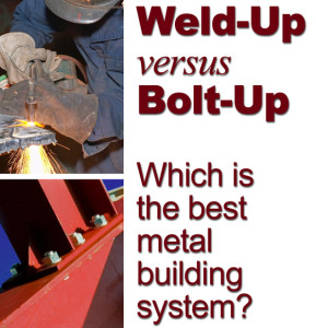 one photo shows welder at work and another shows a close-up of pre-engineered steel building columns bolted together