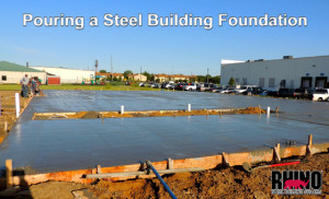 pouring a concrete slab for a steel building foundation