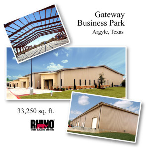 Collage of photos showing the 33,250 sq. ft. Gateway Business Park steel building in Texas