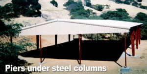 Photo of a shade shelter built on piers.