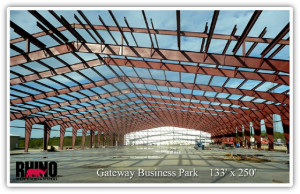 Photo of Gateway Business Park's steel warehouse under construction in Texas