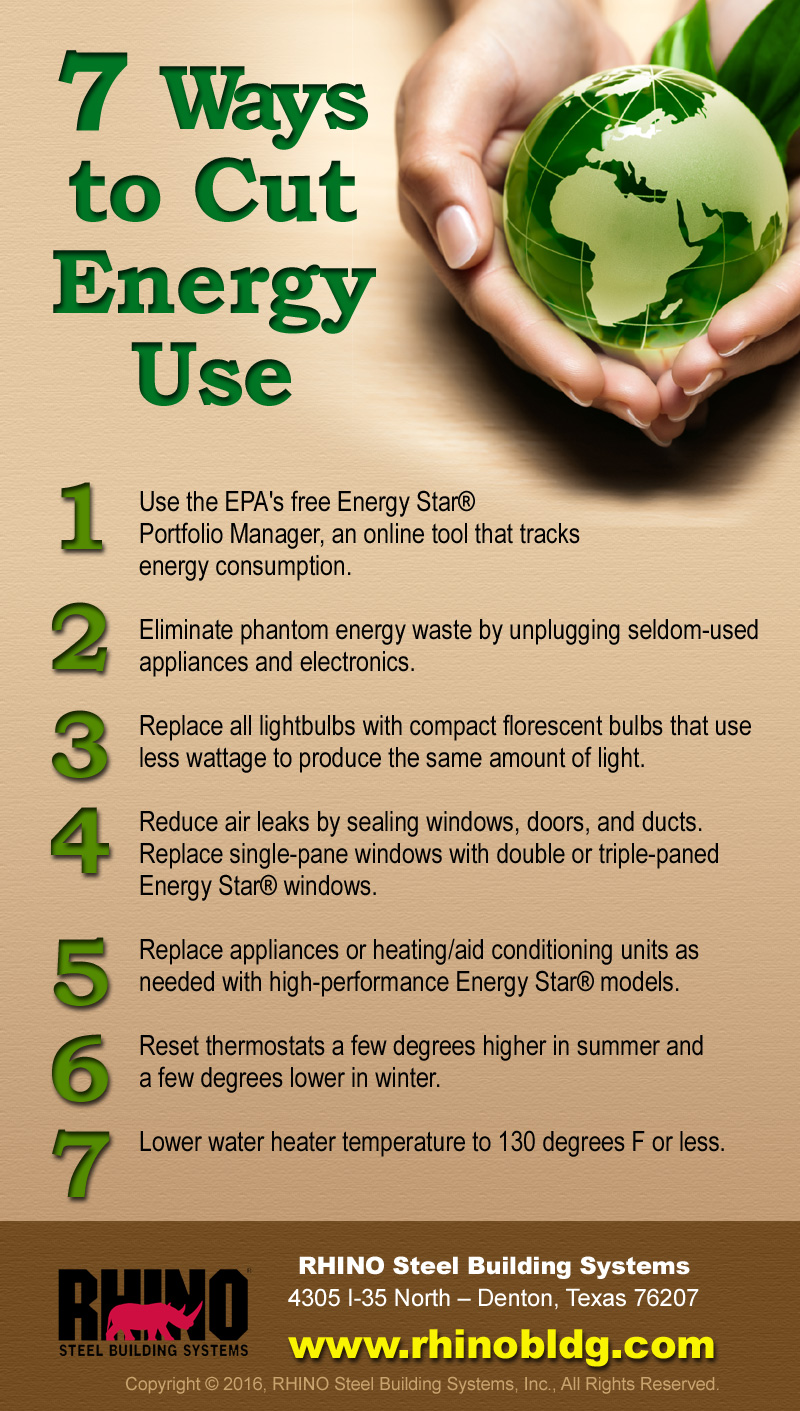 Infographic with seven tips on lower energy use.