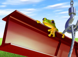 Green frog riding on a red iron steel beam as it is lifted.