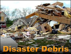 Photo of a huge pile of building debris left after a natural disaster