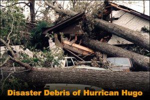 Photo of a house destroyed by falling trees in Hurricane Hugo