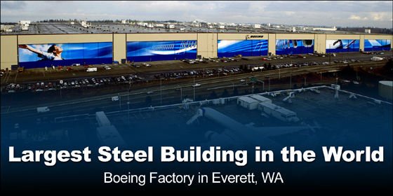 Photo of the incredible Boeing Factory in Everett- the largest steel building in the world
