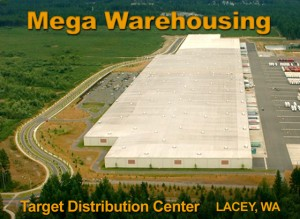 Overhead view of a sprawling  distribution center and warehouse