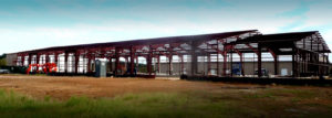 Photo of a RHINO steel warehouse complex under construction.