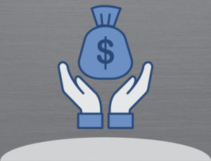 Icon of hands reaching for bag of money, indicating metal building savings.