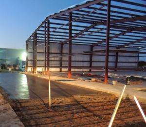 Photo of concrete pored at a RHINO metal building job site.