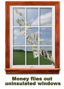 Window with dollar bill flying out of it
