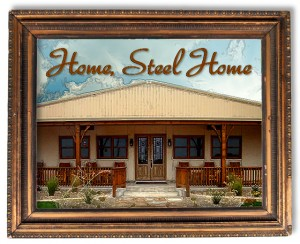"Picture of a framed RHINO steel home and the headline ""Home Steel Home"""