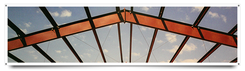 close-up of steel building framing