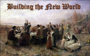 Painting of the Pilgrims at the first Thanksgiving