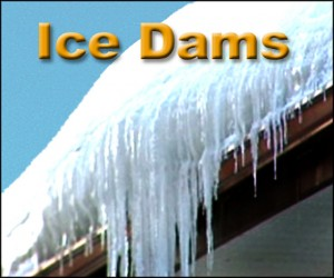 Picture showing an Ice Dam forming on a roofline