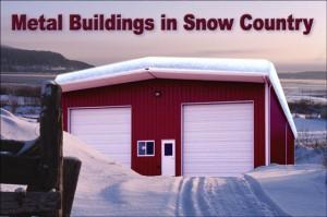 Red metal building with white trim and covered with snow
