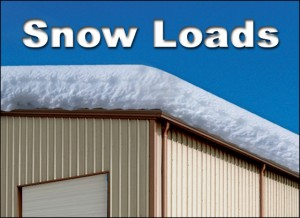 Illustration of a metal building roof piled with heavy snow